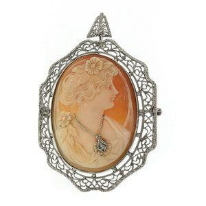 VINTAGE 14K WHITE GOLD CAMEO SHELL BROOCH/PENDANT